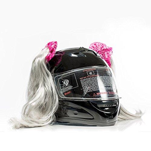 (Stick On Motorcycle Helmet Pigtails Ponytails (Grey))