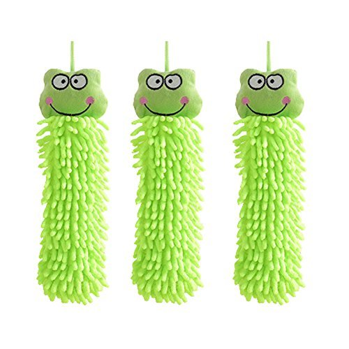Kylin Express 3PCS Household Hand Towels Absorbent Towel Hanging Drying Wipe - Green Frog