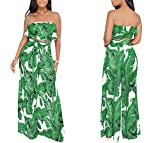 YSJERA Women's 2 Pieces Outfit Floral Sleeveless Tube Top Palazzo Long Pants High Waist Jumpsuits