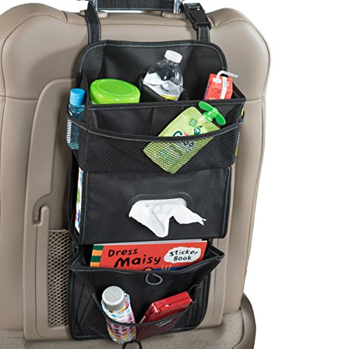High Road TissuePockets Car Seat Organizer and Tissue Holder (Black) - Headrest Tissues