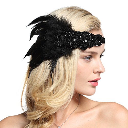 Gatsby Costumes Couple (FAIRY COUPLE Gatsby Party Wedding Headband Flapper Costume Accessories Feather Headpiece Black)