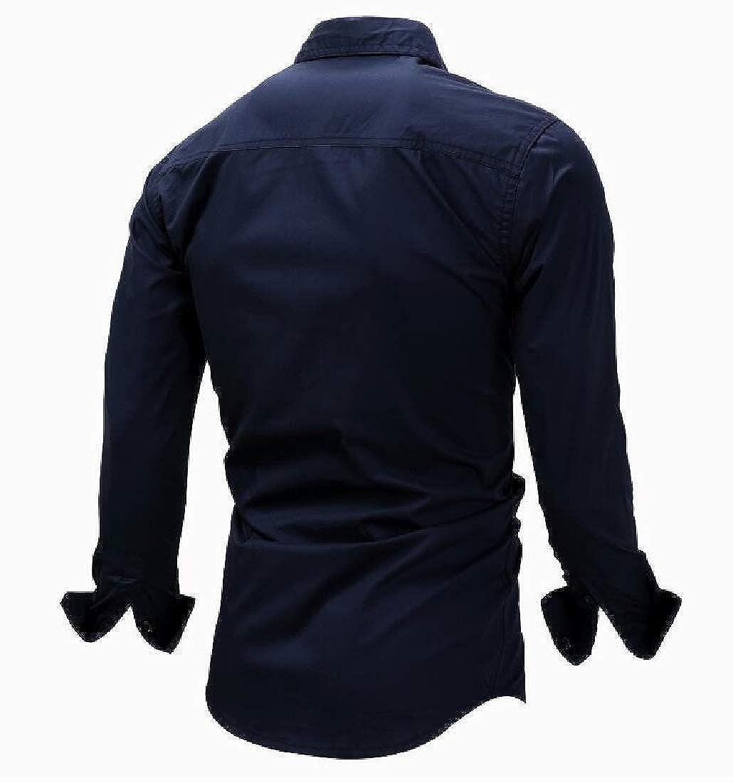 Joe Wenko Mens Long Sleeve Solid Curved Hem Lapel Neck Slim Fit Button Down Shirts