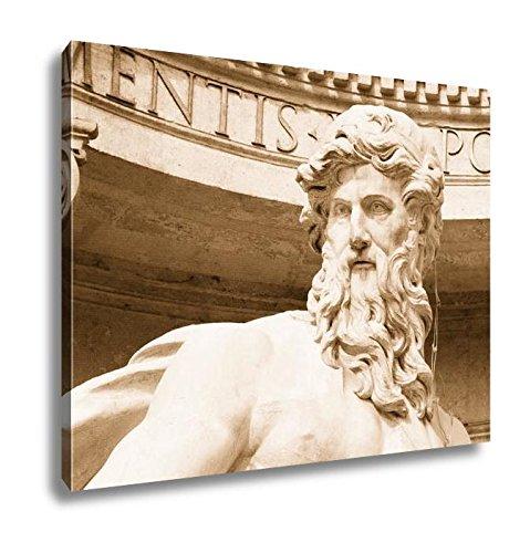 Ashley Canvas Neptune Statue of Trevi Fountain Fontana Di Trevi in Rome, Wall Art Home Decor, Ready to Hang, Sepia, 16x20, AG6142858