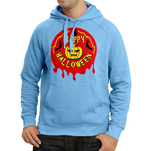 Hoodie Happy Halloween! - Party Clothes - Pumpkins, Owls, Bats (Large Blue Multi -