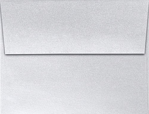 (A2 Invitation Envelopes (4 3/8 x 5 3/4) - Metallics - Silver - Silver Metallic (50 Qty)   Perfect for Invitations, Announcements, Sending Cards  )