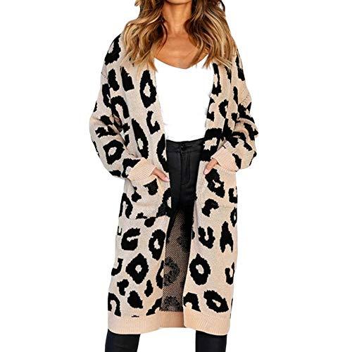 Largo De Abrigo Drhgksp Punto Cálido Leopardo Cardigan Sexy Casual Bolsillos Chaqueta Casaco Otoño Suéter Mujeres Feminino OT7qwRxXT