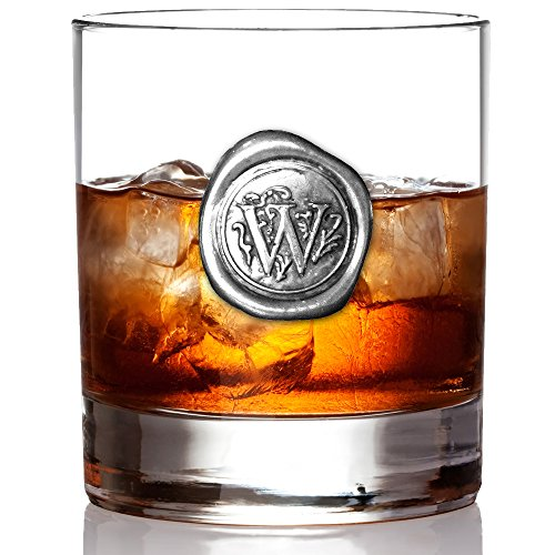 English Pewter Company 11oz Old Fashioned Whiskey Rocks Glass With Monogram Initial - Unique Gifts For Men - Personalized Gift With Your Choice of Initial (W) -