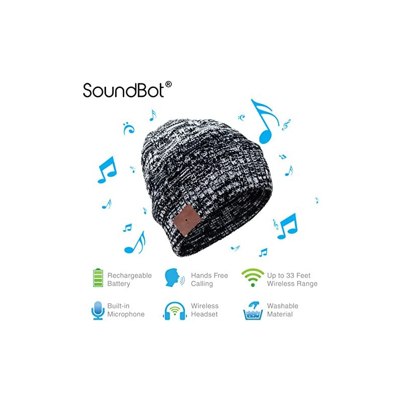 SoundBot WEAVE HD Stereo Bluetooth 4.1 Wireless Smart Beanie Headset Musical Knit Headphone Speaker Hat Speakerphone Cap w/ 5Hrs Music Streaming & 7Hrs Hands-Free Talking, 60Hrs Standby, Built-in Mic