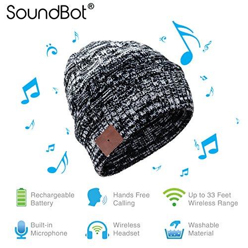 SoundBot SB210 HD Stereo Bluetooth 4.1 Wireless Smart Beanie Headset Musical Knit Headphone Speaker Hat Speakerphone Cap,Built-in Mic (BLK/WHT)