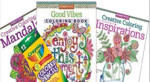 Adult Coloring Book 3-pack bundled with 12 count crayola colored - Chanel Designs Original