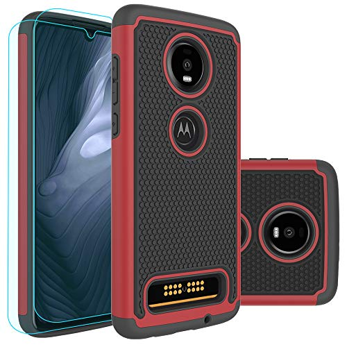 Moto Z4 Play Case,Moto Z4 Case with HD Screen Protector [2 Pack] Huness Durable Armor and Resilient Shock Absorption Case Cover for Motorola Moto Z4 Play Phone (Red)