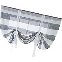 Baoblaze Elegant Tie-up Roman Curtain Window Voile Drape Sheer- Silk Ribbon Back Tab/Rod Pocket Sheer Small Window Balloon Curtain 46x63 inch