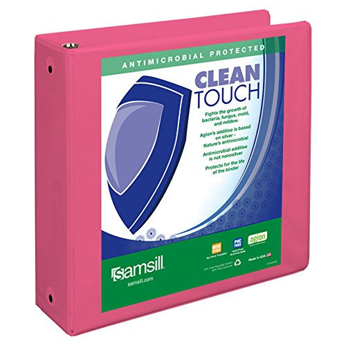 Samsill Clean Touch 3 Ring View Binder Protected by Antimicrobial Additive, Customizable Clear View Cover,3 Inch Round Rings, Berry Pink