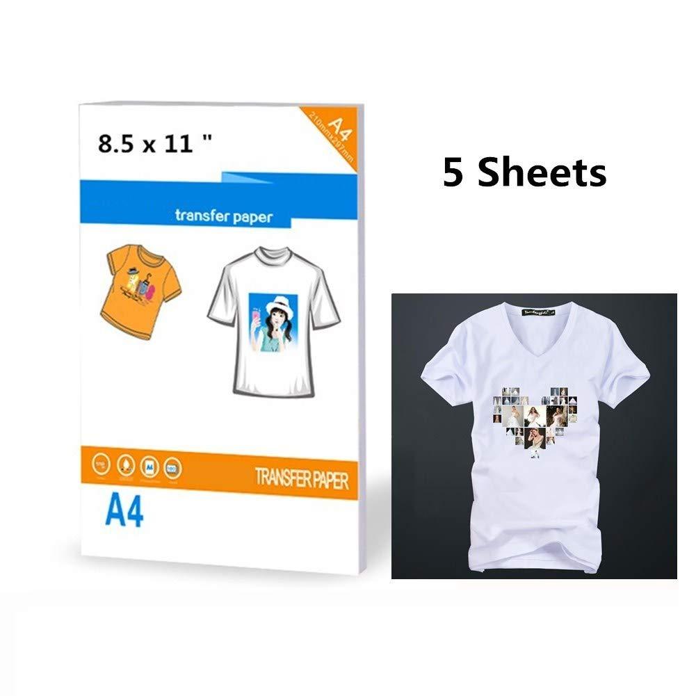30 fogli di carta trasferibili per magliette dimensioni 21,6 x 27,9 cm per stampanti a getto dinchiostro