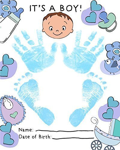 ReignDropBaby's Baby Footprints Cards Making Kit with Ink Pad - Baby Boy Birth Announcement Cards from ReignDropBaby