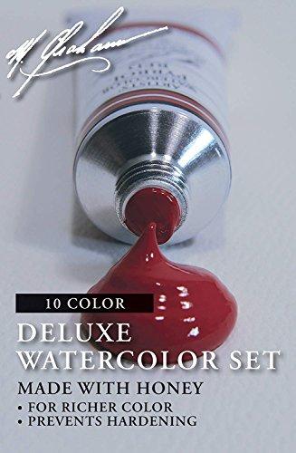 - M. Graham GRM-33-10SET Intermediate 10-Color Watercolor Paint Set, 1/2-Ounce Tube (2-Pack)