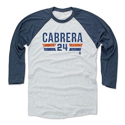 500 LEVEL Miguel Cabrera Baseball Tee Shirt Large Indigo/Ash - Detroit Baseball Raglan Shirt - Miguel Cabrera Font -