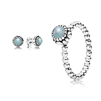 2e085443ea5d3 Original Pandora gift set - 1 March Birthstone Ring 190854AQ-52 and ...