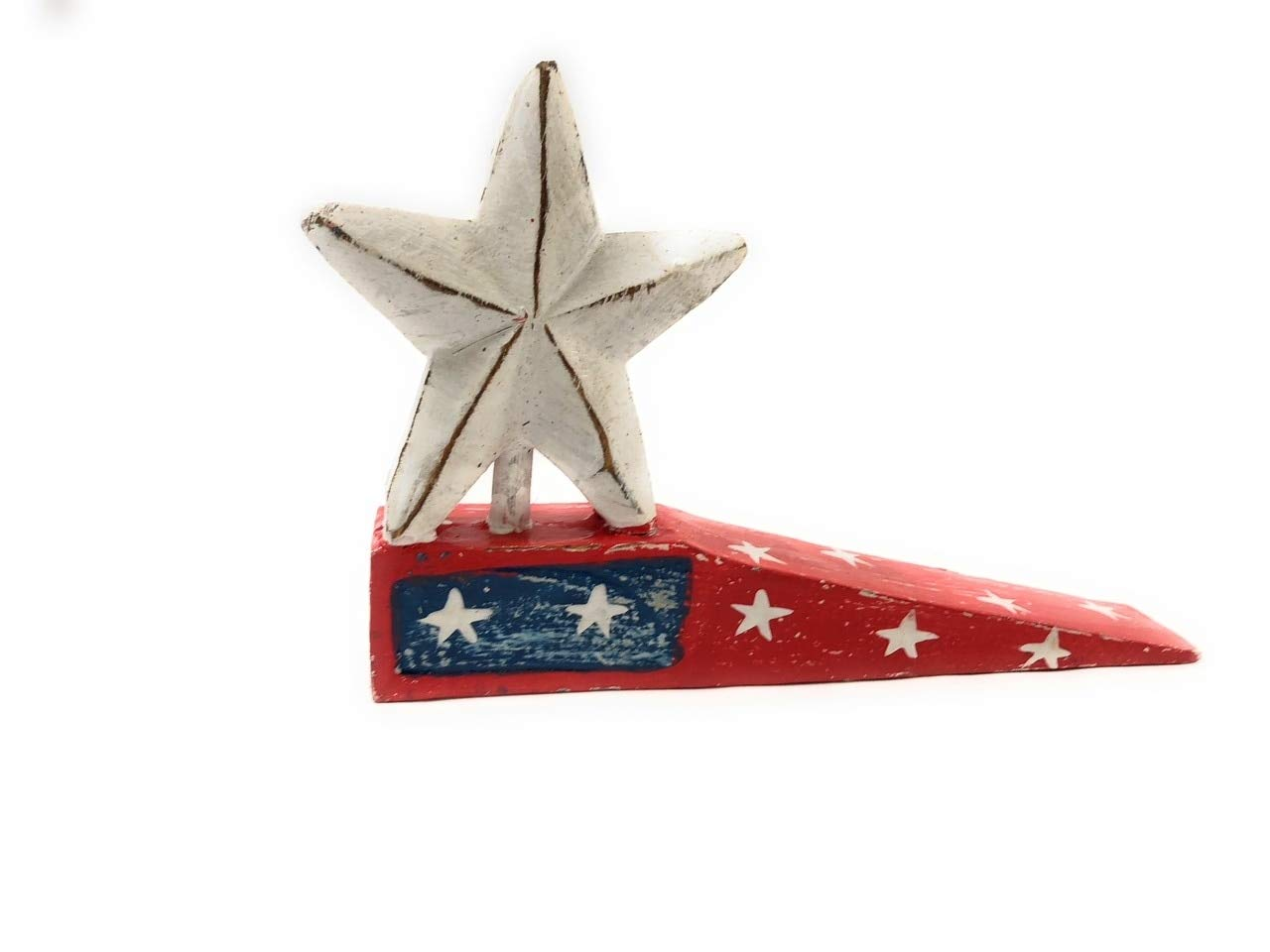 TikiMaster Americana Door Stopper Red w/Star 4'' - USA Decor   #ort17081b