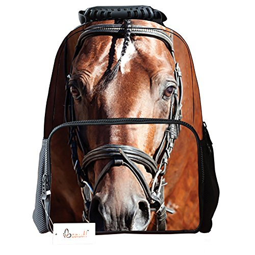 Horse Backpack - Ibeauti Unisex School Backpack, Large Capacity 3d Vivid Animal Face Print Polyester Backpack (Brown Horse)