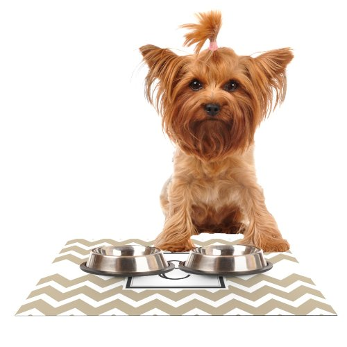 KESS InHouse Kess Original Monogram Chevron Tan Letter E  Feeding Mat for Pet Bowl, 18 by 13-Inch