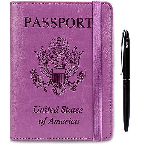Passport Holder Cover wallet Case-Leather RFID Blocking Travel Document Organizer with Bonus Pen for women men( Purple)