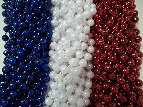 144 Red White Blue Memorial Day Mardi Gras Beads Necklaces Party Favors Huge lot by Party ()