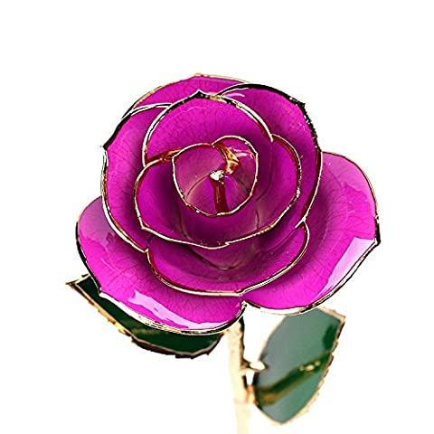 econoLED Long Stem Dipped 24k Gold Trim Red Rose in Gift Box,valentines Gifts for Couples, Cute Valentines Day Gift Ideas, Good Couple Gifts for Valentines, Romantic Anniversary Gifts(Purple)