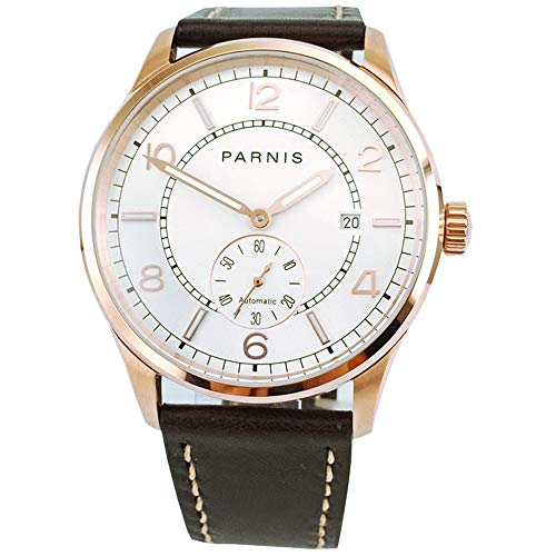 - PARNIS 42mm White Dial Rose Golden Mens Wristwatch Mechanical Date Automatic Movement Men's Watch