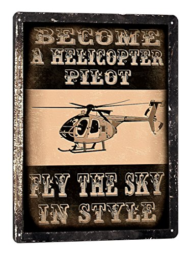 HELICOPTER pilot METAL SIGN remote model FLYING lessons VINTAGE style buys room 710