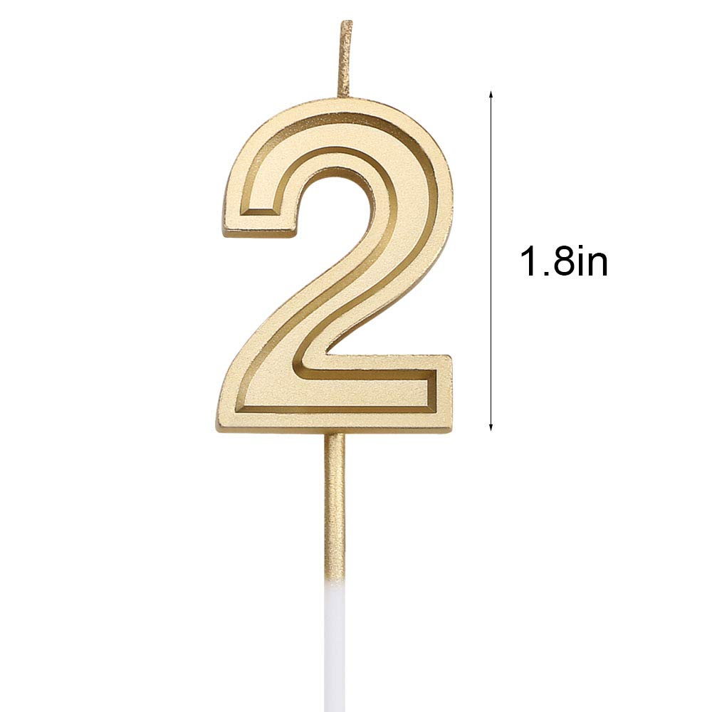 Amazon URAQT Birthday Candles Numbers Gold Glitter Numeral For Birthdays Weddings Reunions Theme Party Number 2 Home Kitchen
