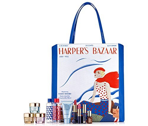 Estee Lauder 8 Pieces Skin Care and Makeup Gift Set with Exclusive Harper's Bazaar Iconic Cover-Print Tote Bag by Estee Lauder