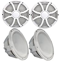 Wet Sounds Two Revo 10 Subwoofers & Grills - White Subwoofers & White Closed Face SW Grills - 4 Ohm