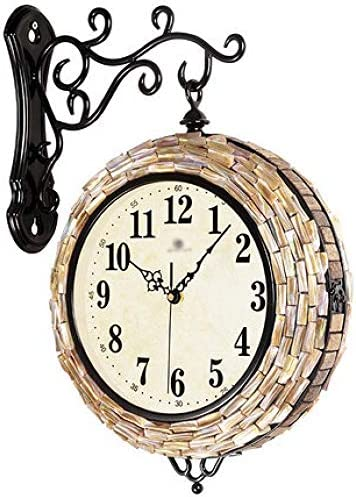 Living Room Double-sided Modern Minimalist European Personality Creative Clock, Shell coconut