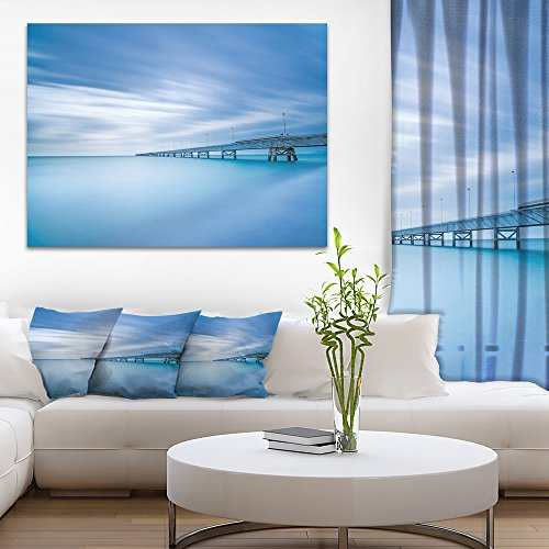 Designart PT8372-20-12 Industrial Pier In The Sea Seascape Photo canvas Print,Blue,20×12