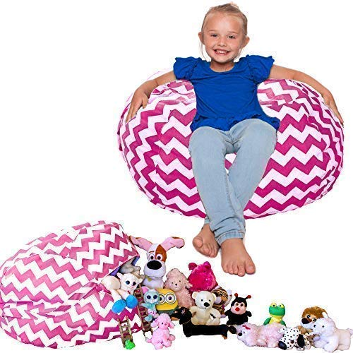 (Lilly's Love  Kids Toy Storage and Organization Bean Bag Chair, Chevron (Pink))