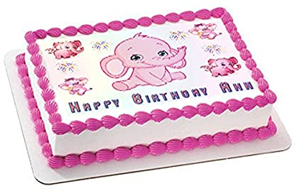 Pink Elephant Edible Birthday Cake OR Cupcake Topper