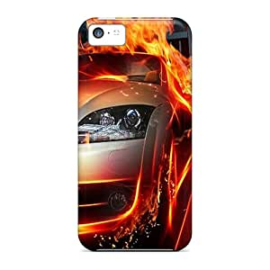 Durable Defender Case For Iphone 5c Tpu Cover(fire Race)