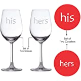 Love Gifts, Giftsmate Engraved His Hers Couple Wine Glasses - Set of 2 with 2 Coasters, Wedding Gifts, Anniversary Gifts for couple, Romantic Gifts