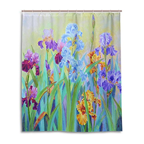 WEETIME Ethel Ernest Waterproof Bath Curtain Iris Painting Polyester Fabric Bathroom Shower Curtain 60 x 72 inch