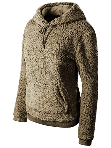 (Instar Mode Women's Super Soft Sherpa Front Pocket Hoodie Pullover Olive S)