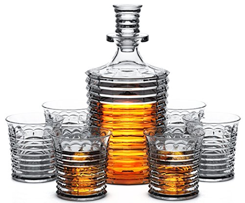 Miko Crystal Decanter Set With 6 Double Old Fashioned Glasses- Lead Free Crystal (Fort William) by Miko (Image #7)