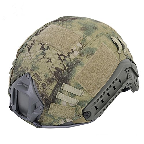 Leagway Tactical Military Combat Helmet Cover for Ops-Core Fast Ballistic Helmet, Airsoft Paintball Hunting Shooting Gear Fast Helmet Cover (Jungle Python)