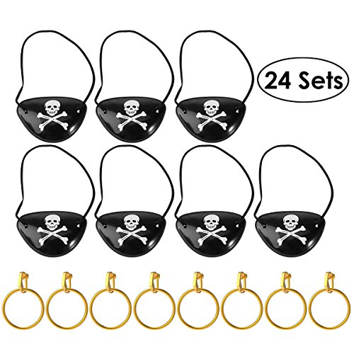 Unomor Pirate Eye Patches with Earring for Halloween Party and Costume, 24 Sets in one