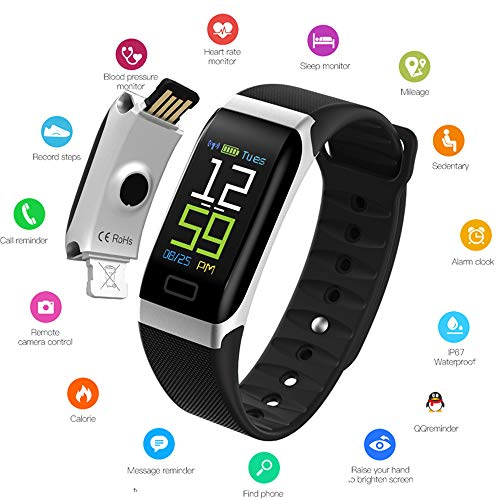 IP68 Waterproof Fitness Tracker, 0.96 Inch TFT Color Fitness Tracker Blood Pressure Heart Rate Monitoring Sports Mode Calorie Men and Women Pedometer,Black