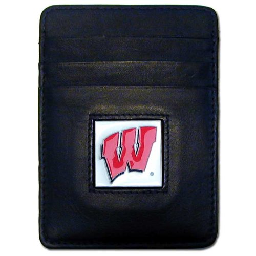 - NCAA Wisconsin Badgers Leather Money Clip/Cardholder Wallet