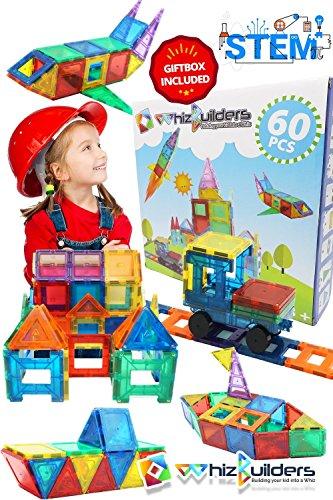 Magnetic Building Tiles Toys Set - Tiles Block Toy Kit for Kids - STEM Educational Construction Stacking Shapes - 60 Pieces