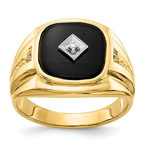 - 14k Yellow Gold Diamond Mens Band Ring Size 10.00 Man Fine Jewelry Dad Mens Gift Set