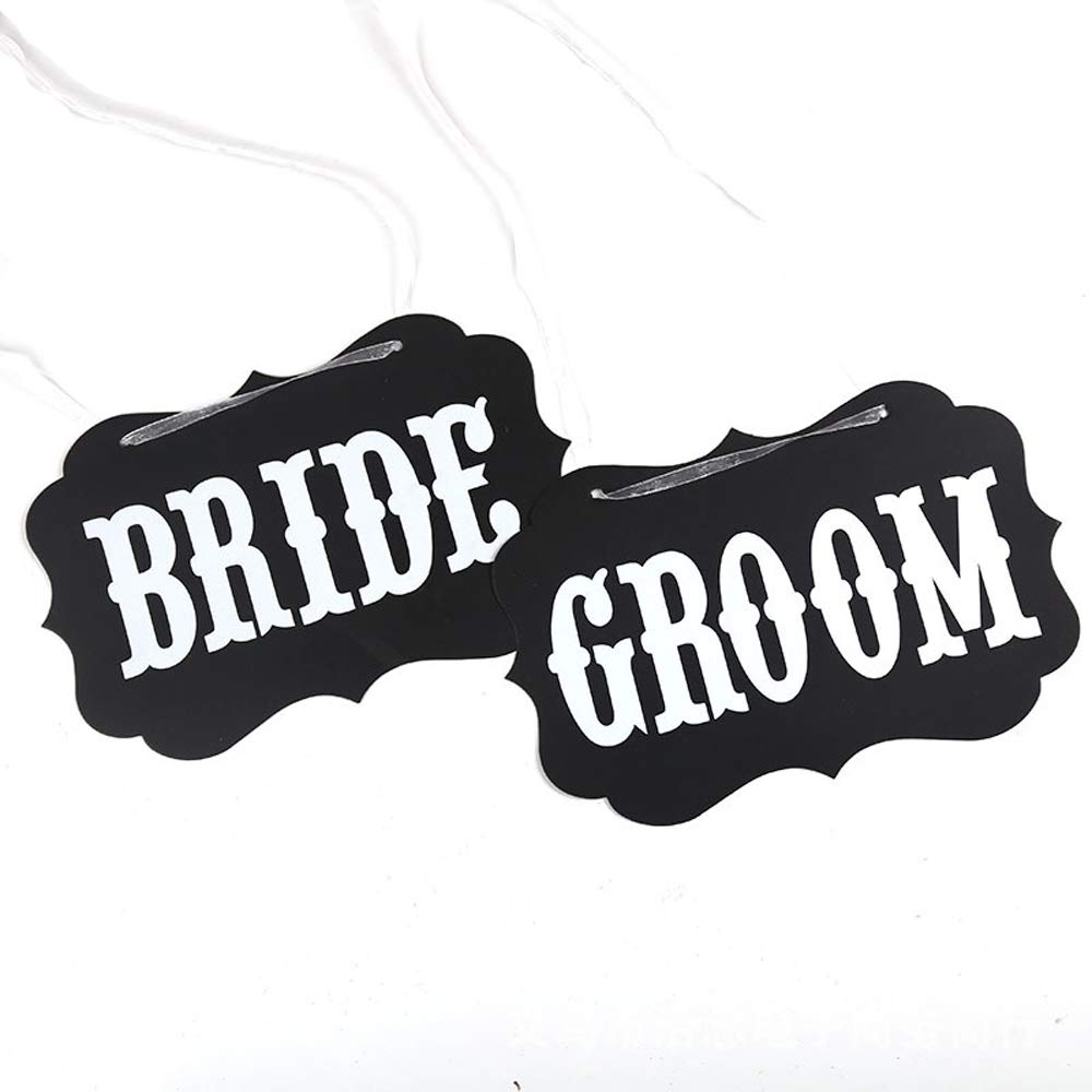Bride and Groom Photo Props Just Married Wedding Decorations Unique Photo Booth Signs