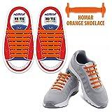 Homar Waterproof Reflective No Tie Kids Shoe Laces Elastic Athletic Shoelace For Sneakers Boots Skateboard Hiking Sport Shoe - Orange | amazon.com